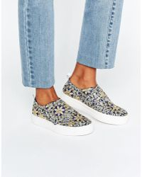 E8 E8 By Miista Reanna Floral Flatform Slip On Sneakers - Blue