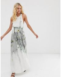 & Other Stories Robe longue semi-transparente effet aquarelle - Gris