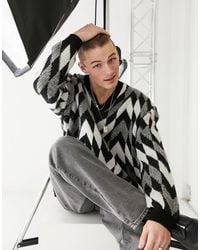 ASOS Knitted Oversized V-neck Jumper With Monochrome Checkerboard - Black