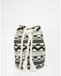 ASOS Mono Woven Duffle Bag - Black