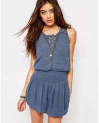 Abercrombie & Fitch - Lace Panel Playsuit - Lyst