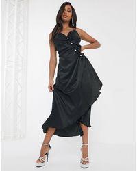 UNIQUE21 Черное Атласное Платье Со Стразами На Пуговицах Unique 21-черный