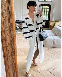 In The Style Удлиненный Кардиган Белого Цвета С Контрастными Полосками X Lorna Luxe-белый