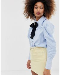 Sister Jane Jewel Button Shirt With Pussybow And Pooch Broach Detail - Blue