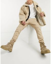 River Island Twill Cargo Pants - Natural