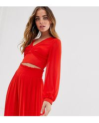 TFNC London Knot Front Long Sleeve Wrap Co-ord Top In Red