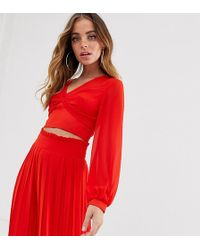 TFNC London Knot Front Long Sleeve Wrap Two-piece Top In Red
