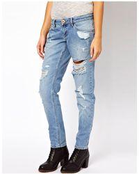 River Island Jeans stile boyfriend con strappi - Blu
