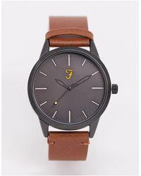 Farah Часы С Классическим Кожаным Ремешком -коричневый