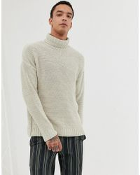 ASOS - Knitted Relaxed Fit Roll Neck Jumper In Beige - Lyst