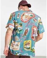 Liquor N Poker Tennis Club Retro Cuba Print Shirt Co-ord - Blue