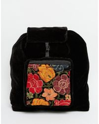 Hiptipico - Handmade Velvet Backpack With Floral Embroidery - Lyst