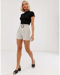 New Look Buckle Detail Short In Stone - Multicolor