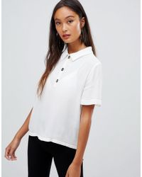 Bershka - Contrast Stitch Button Top Blouse - Lyst