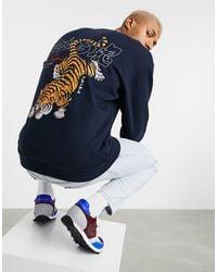 ASOS Oversized Sweatshirt With Large Tiger Back Print - Blue