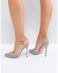 Office - Grey Embellished Heeled Shoes - Lyst