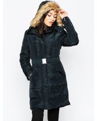Ichi - Belted Parka With Faux Fur Hood - Lyst