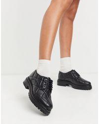 ASOS Muse - Chaussures richelieu matelassées en cuir - Noir