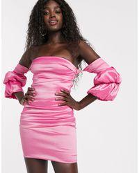 Bardot Розовое Атласное Платье Мини С Объемными Рукавами -розовый