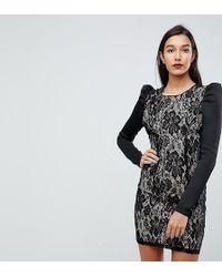 ASOS - Lace Bodycon Puff Sleeve Mini Dress - Lyst