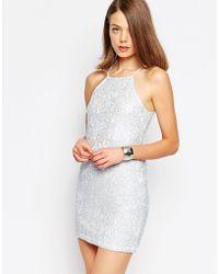 Glamorous Halterneck Pencil Dress - White