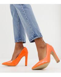 New Look Pointed Toe Block Heel Shoes In Orange