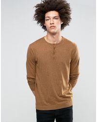 ASOS Grandad Neck Sweater In Orange Twist Cotton - Brown