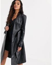 4th & Reckless Trench-coat à ceinture imitation croco - Noir