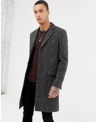 AllSaints Wool Overcoat In Charcoal Check - Black