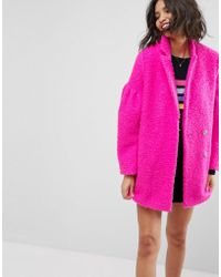 ASOS - Textured Coat With Puff Sleeve - Lyst