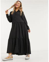 Monki Collina Shirt Midi Dress - Black