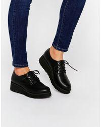 London Rebel Lace Up Flatform Shoes - Black