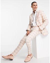 ASOS Wedding – anzughose aus leinen - Pink