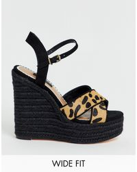 River Island Wide Fit Wedge Sandals With Stud Detail - Black
