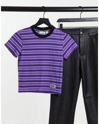 The Ragged Priest T-shirt ajusté à rayures avec logo - Violet