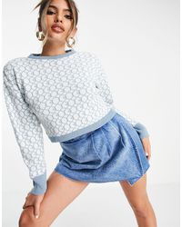 I Saw It First Knitted Cropped Jumper - Blue