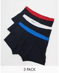 New Look Набор Из 3 Боксеров-брифов С Контрастным Поясом -черный