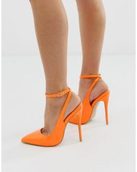 SIMMI Shoes Simmi London Sure Neon Orange Ankle Strap Court Shoes
