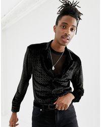 Jaded London Chemise à manches longues en velours avec motif crocodile métallisé - Noir