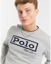 Polo Ralph Lauren Серый Меланжевый Джемпер Из Плотного Хлопкового Трикотажа С Большим Логотипом Спереди