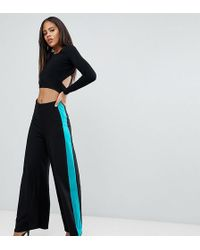 ASOS - Asos Design Tall Wide Leg Trousers With Contrast Side Stripe - Lyst