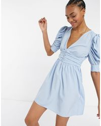 Vila Mini Dress With Wrap Front And Ruffled 3/4 Length Sleeves - Blue