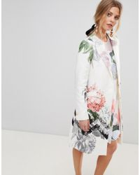 Ted Baker - Arnot Coat In Palace Gardens Print - Lyst