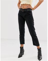 Mango Jeans cropped a zampa - Nero