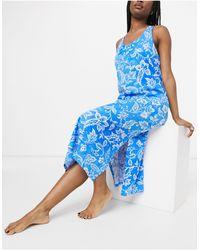 Lauren by Ralph Lauren Camisón azul con estampado floral y espalda retorcida