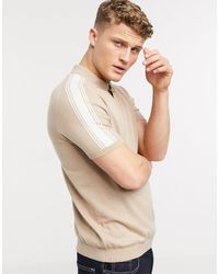 TOPMAN Knitted Polo With Shoulder Stripe - Natural