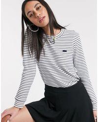Lacoste Бело-серый Свитер В Полоску С Логотипом -мульти - Многоцветный