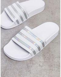 adidas Originals Серебристо-белые Шлепанцы Adilette-белый