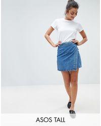 ASOS Denim Wrap Skirt In Stonewash Blue