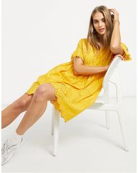 Y.A.S . Frill Sleeve Smock Dress - Yellow